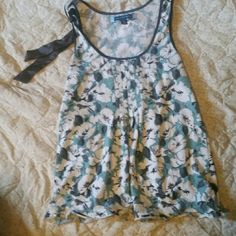 American Eagle outfitters top Lite  blue white flowers  gray ribbon  on one side floey American Eagle Outfitters Tops Tank Tops