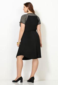 Lasercut Trim Sheath Dress with Belt-Plus Size Sheath Dress-Avenue