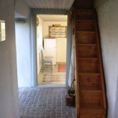 Narrow stairs leading to attic