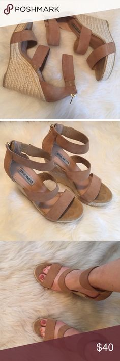 "Steve Madden Nude Espadrilles Wedges Steve Madden Wedges. Nude suede straps. Zipper back. I love these wedges but are slightly too tall for my liking. 4"" heel. Size 6.5. Reposhing, I have personally never worn these wedges. Steve Madden Shoes Wedges"