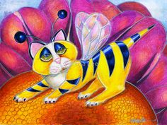 Bee I Kitty, surrealism cat by Alma Lee by Alma Lee