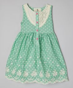 Another great find on #zulily! Green Dot Lace-Trim Dress - Toddler & Girls by Little Anmy #zulilyfinds