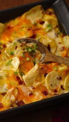 Loaded Twice Baked Potato Casserole Recipe ~ creamy good. Oh so easy, oh so delish.