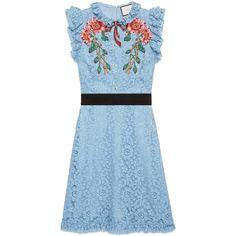 Gucci Embroidered Cluny Lace Dress ($3,980) ❤ liked on Polyvore featuring dresses, light blue, floral applique dress, lace dress, blue floral dress, embroidered dress and floral dresses