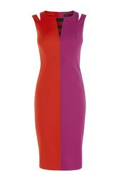 1cdde287579c6e Colour Block Dresses Panelled Slimming Contrast Illusion Panel Dress