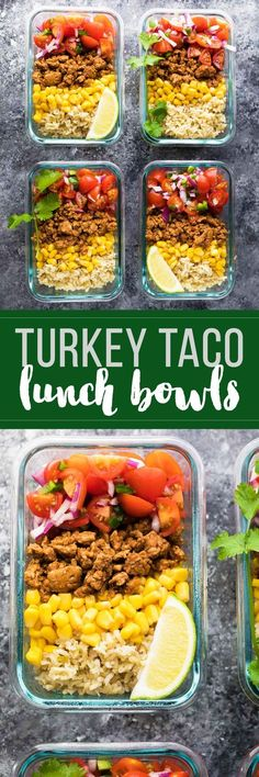 Make these turkey taco lunch bowls on the weekend and you'll have four healthy, delicious and filling lunches ready for the work week! They are a great make ahead lunch that you can eat cold making for an easy and healthy lunch!   #sweetpeasandsaffron #mealprep #healthy #lunch #recipes #makeahead via @sweetpeasaffron