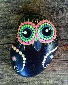 Colorfull Painted Owl on Pebbles - Natural Eco Nature Stone Rock  Art Craft Handmade Home, Office & Garden Decor. by YuliaArtDots on Etsy https://www.etsy.com/listing/397922333/colorfull-painted-owl-on-pebbles-natural