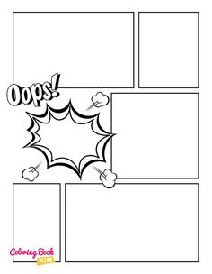 Blank comic book pages Blank comic to create great stories for children and adults. 120 pages of great and unique templates designed to meet the highest requirements of both small and large artists. The panels are arranged so that it is easy to draw both short and long stories.
