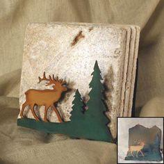 Tumbled Coaster Set: Elk - Travertine -  $24.95