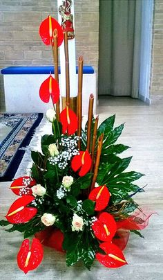 Otro anturio Altar Flowers, Church Flowers, Funeral Flowers, Silk Flowers, Tropical Floral Arrangements, Beautiful Flower Arrangements, Tropical Flowers, Beautiful Flowers, Ikebana