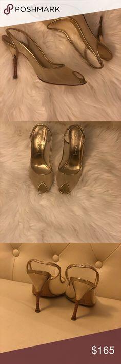 Casadei Shear Gold sling back peep toe heels Beautiful Casadei Shear Gold sling back peep toe heels . Worn once size 7 Shoes Heels