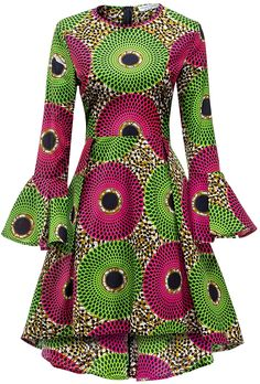 Shenbolen Women African Print Dresses Autumn and Winter Long Sleeves Ankara Dress(Small, multicolored) at Amazon Women's Clothing store: