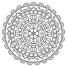 Mandala. kleurplaat. vector illustratie.... | Free Vector #Freepik #freevector #bloem #abstract #boek #kinderen Mandala Coloring Pages, Illustration, Line Art, Digital Art, Drawings, Instagram, Design, Kids, Free