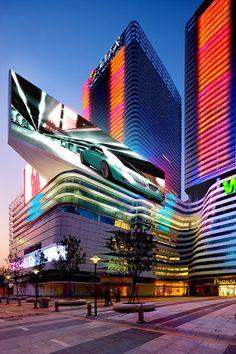 Futuristic Architecture, Skyscraper, Tower, Cyber City, Night City, amphibianArc…