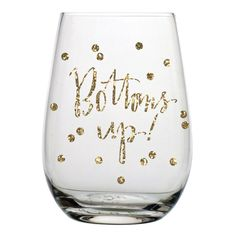 Bottoms Up Glitter Confetti Stemless Wine Glass