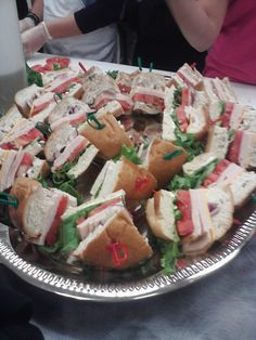 Tip #3: Cook the food yourself, like these almost homemade, pre-purchased sandwiches cut and embellish with toothpicks.