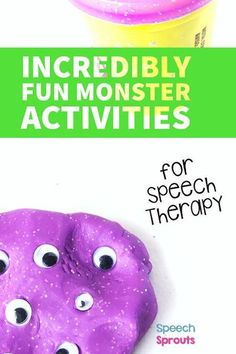 Fun preschool monster theme activities for in-person speech therapy. and teletherapy too. Lots of great ideas including books for speech, songs, crafts, games, movement break videos, and monster speech therapy materials for Halloween or anytime. #speechsprouts #preschool #speechtherapy
