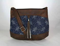 kabelka Rita hnedá + modrotlač
