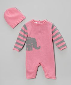 Love this Pink Stripe Elephant Playsuit & Beanie - Infant by Tots Fifth Avenue on #zulily! #zulilyfinds