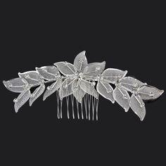 Silver Rhinestone Flower Leaf Tiara Comb Pin Hair Accessory For Wedding Bridal