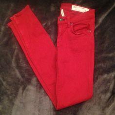 "NEW!! Rag & Bone Skinny Zipper Jeans NWOT Rag & Bone Skinny Zipper Jean in Red. Mid rise waist, super stretchy & lightweight denim. Approx 30"" inseam.  Zipper on each cuff. 55% cotton, 42% tencel, 3% spandex.  New without tags. rag & bone Pants Skinny"