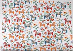Dala horse patterned fabric