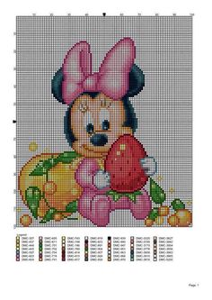 Minnie Cross Stitch Fabric, Cross Stitch Charts, Cross Stitching, Cross Stitch Embroidery, Mickey E Minnie Mouse, Baby Mickey, Graph Crochet, Crochet Baby, Animated Disney Characters