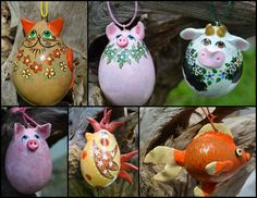 Gourd Ornament Assortment, Pig, Cow, Cat, Rooster, Chicken, Goldfish, Hand painted gourds, 6 Gourd Ornaments