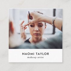 Modern white makeup artist photo elegant simple square business card Square Business Cards, Salon Business Cards, Makeup Artist Business Cards, Elegant Business Cards, Professional Business Cards, White Makeup, Photography Business Cards, Minimalist Business Cards, Business Design