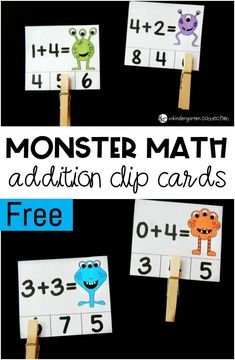 These adorable monster math addition clip cards are so fun for working on beginning addition skills and fine motor in Kindergarten!