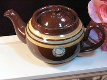Vintage Ridgway Brown Stripe Old English Redware Teapot- I own this, no idea it was worth so much! I love it too much to sell!!!