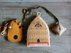 """""""Queen Bee Needle Poke"""" from Little Stitches Handwork Club by Notforgotten Farm . (with a few minor tweaks) I am so ..."""