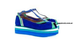 sandalias con plataforma de goma aqua y azul Juana Pascale verano 2014