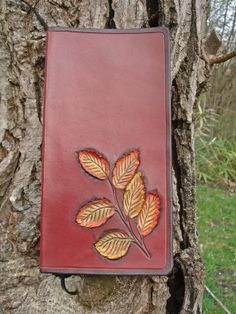 Business Card Holder Tooled Leather Cover Autumn by MadeOfLeather, $70.00