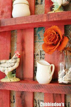 pallet diy shelf with chicken wire rit dye and burlap