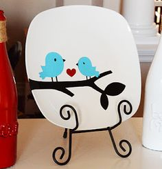 Square plates from Dollar Tree & Cricut Cartridge Create a Critter.   Here are the sizes cut:  branch - 4/12 inches  small bird - 2 inches  large bird - 2 1/2 inches (flipped image)  heart - 2 inches