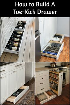 Make use of space by building a toe kick drawer for maximum storage! Make use of space by building a toe kick drawer for maximum storage! Kitchen Drawer Organization, Diy Kitchen Storage, Kitchen Drawers, Kitchen Redo, Kitchen Pantry, Home Decor Kitchen, New Kitchen, Kitchen Cabinets, Under Cabinet Storage