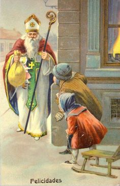 Saint Nicholas  1910 German Postcard