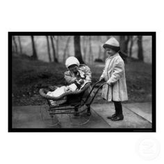Girls Playing with a Doll in a Carriage 1912 print