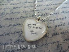 Custom Loved Ones Handwriting Necklace or Key by LittleGemGirl, $28.00