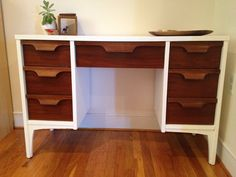 repin-Mid century modern desk uniquely refinished by MilieuSiecle, $450.00