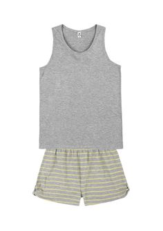 18c3a035b Pijama Feminino Em Malha De Viscose Com Shorts Com Listras