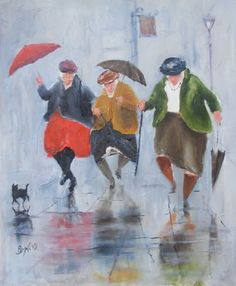 Little old ladies dancing in rain, great idea!
