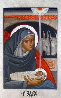 Nativity Contemporary icon by Lyuba Yatskiv (Ukraine)