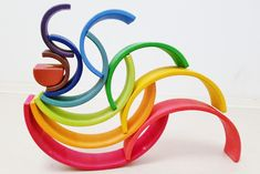 100 ideas to play the Large Wooden Rainbow Stacker Grimms Rainbow, Rainbow Blocks, Rainbow Invitations, Wooden Rainbow, Small World Play, Wooden Train, Gross Motor Skills, Montessori Toys, Matt Lanter