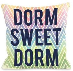 Dorm Sweet Dorm Chevron Square Throw Pillow in Multi #dormroom #afflink