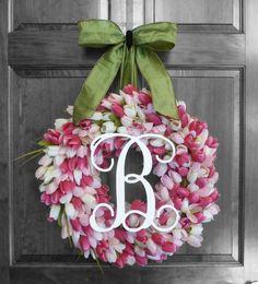 Spring Wreath  Summer Wreaths  Pink Tulip Wreath  by RefinedWreath