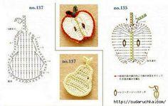 Frutas, frutos, folhas - crochê.  Às vezes, necessário para pormenores de decoração pequenas - como uma maçã ou uma folha, e esses esquemas como o tempo e ajuda.
