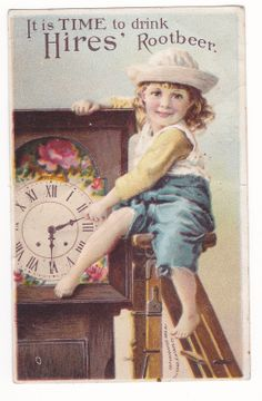 1800s Victorian Trade Card It Is Time Drink Hires' Root Beer Cough Candy | eBay