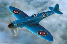 Monumental: The blue coloured Spitfire is powered by the Rolls Royce Griffon engine and has a top speed of 446mph and a ceiling of 42,000ft